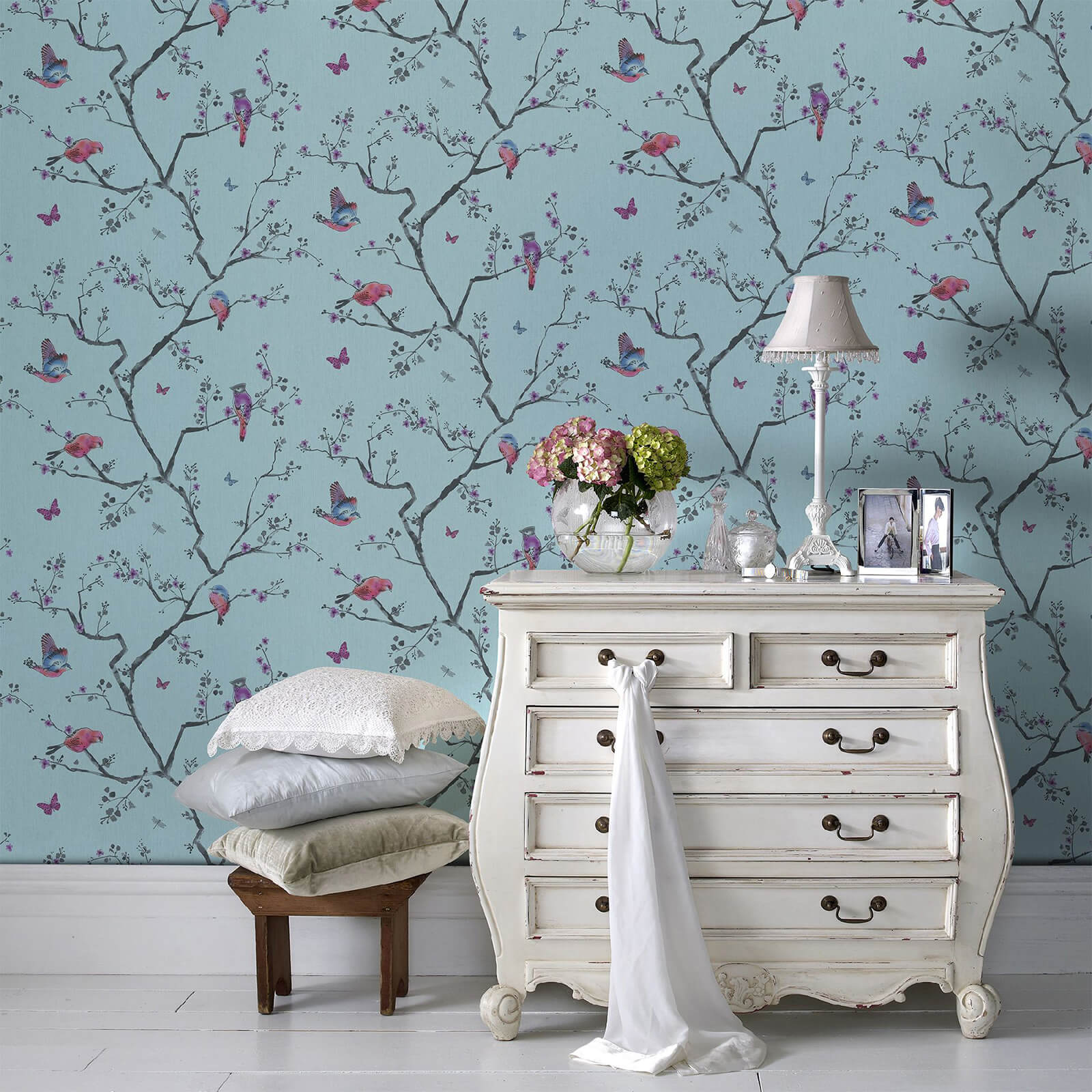 Fresco Blue/Multi Oriental Mai Floral Wallpaper