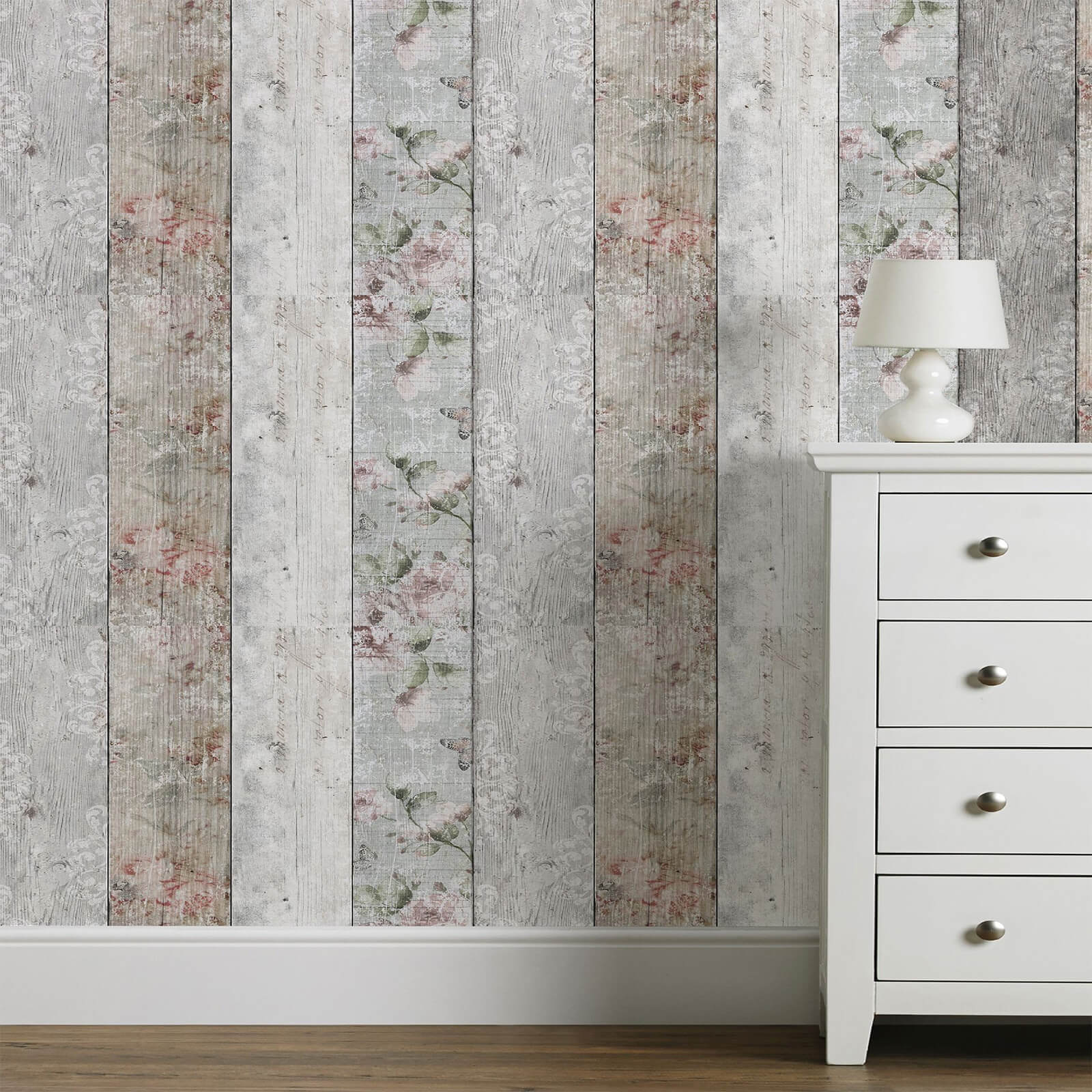 Fresco Natural Distressed Wood Floral Wallpaper