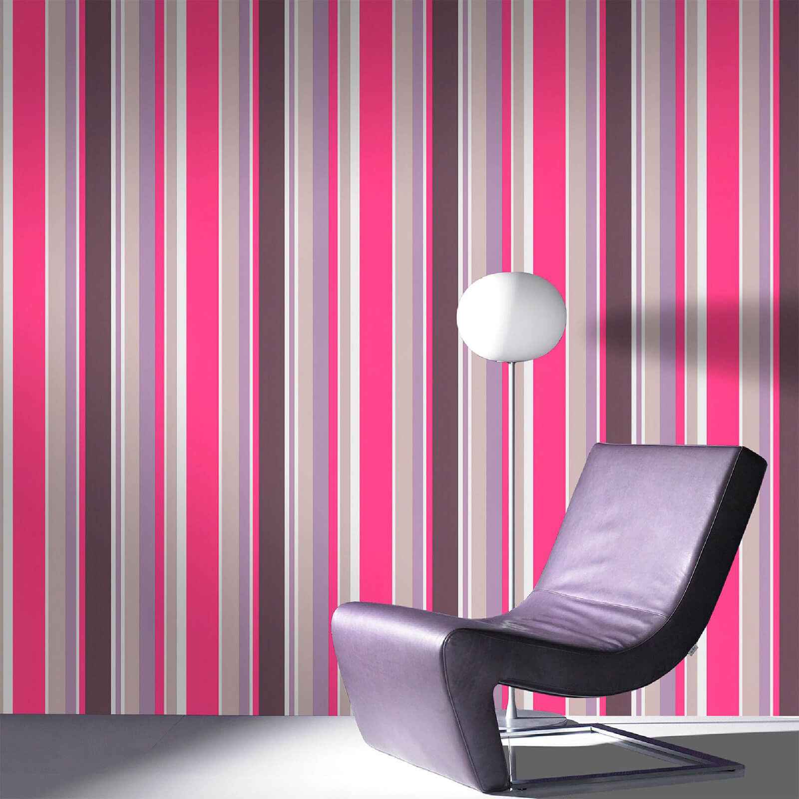 Fresco Hot Pink Rico Striped Wallpaper