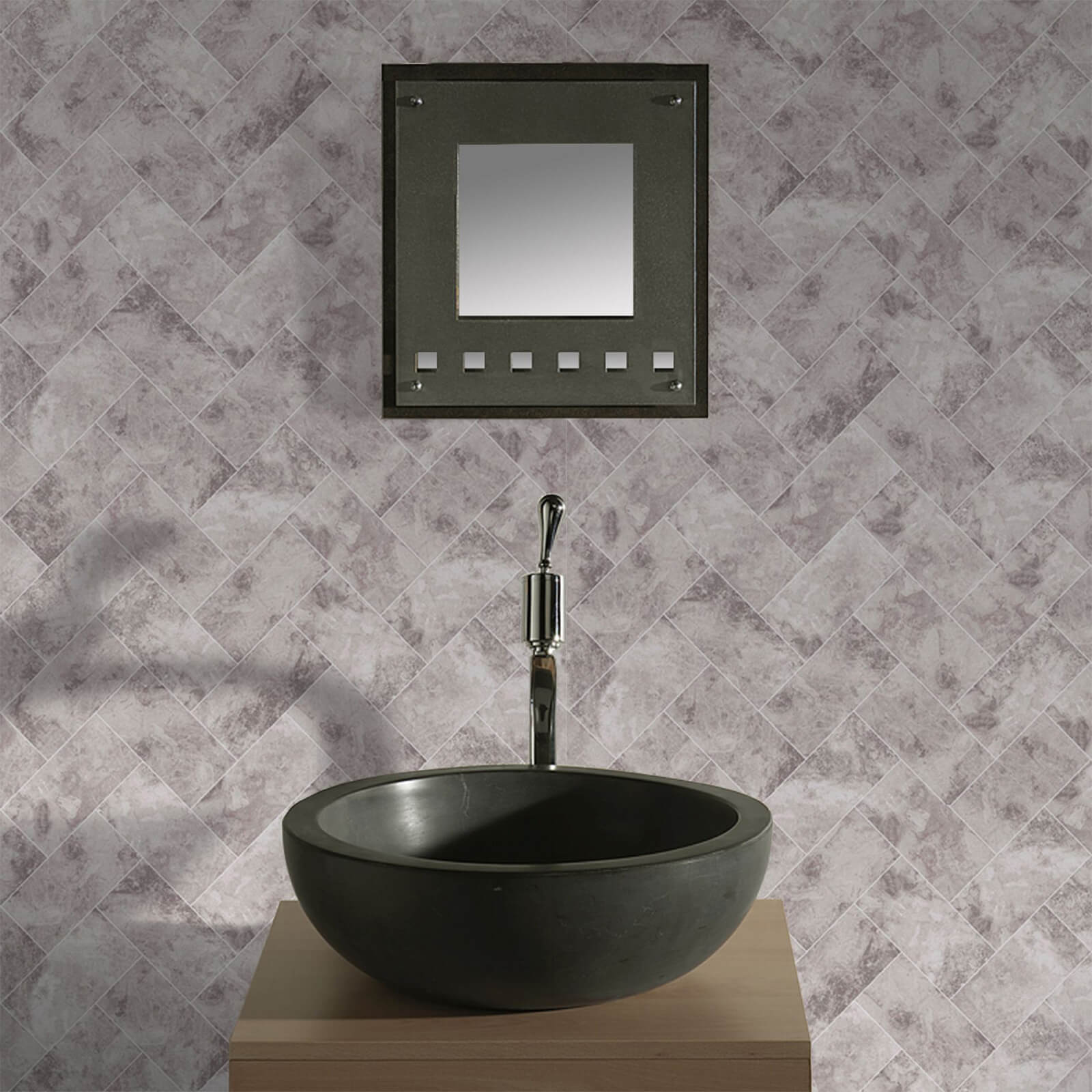Contour Taupe Travertino Tiled Bathroom/Kitchen Wallpaper