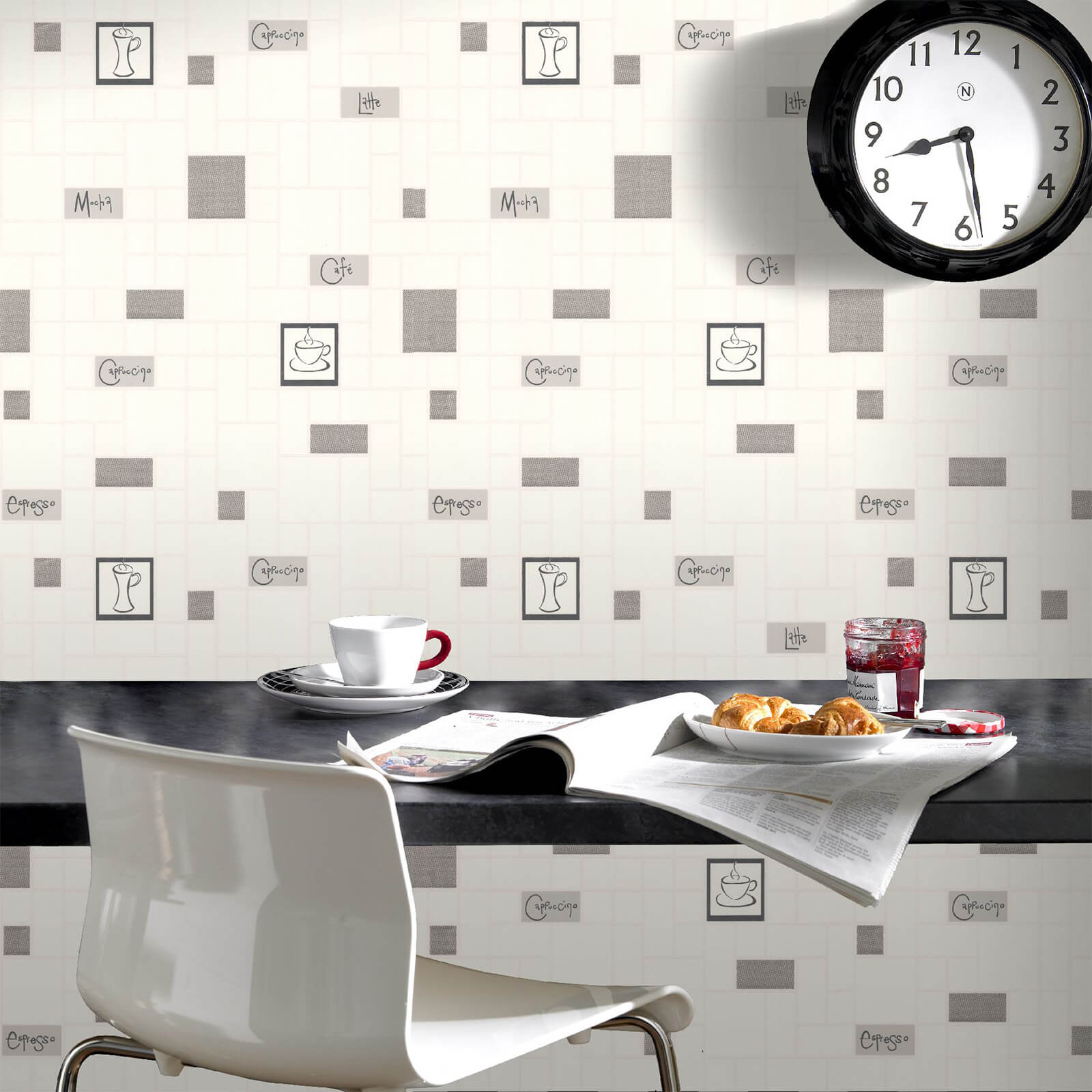 Contour Grey Café Culture Kitchen Wallpaper