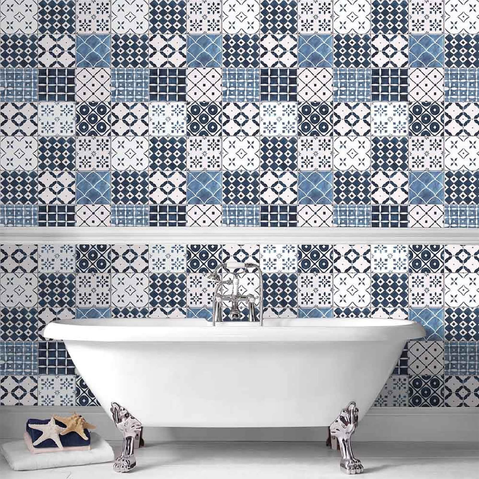 Contour Blue White Porches Tiled Bathroom Kitchen Wallpaper Iwoot