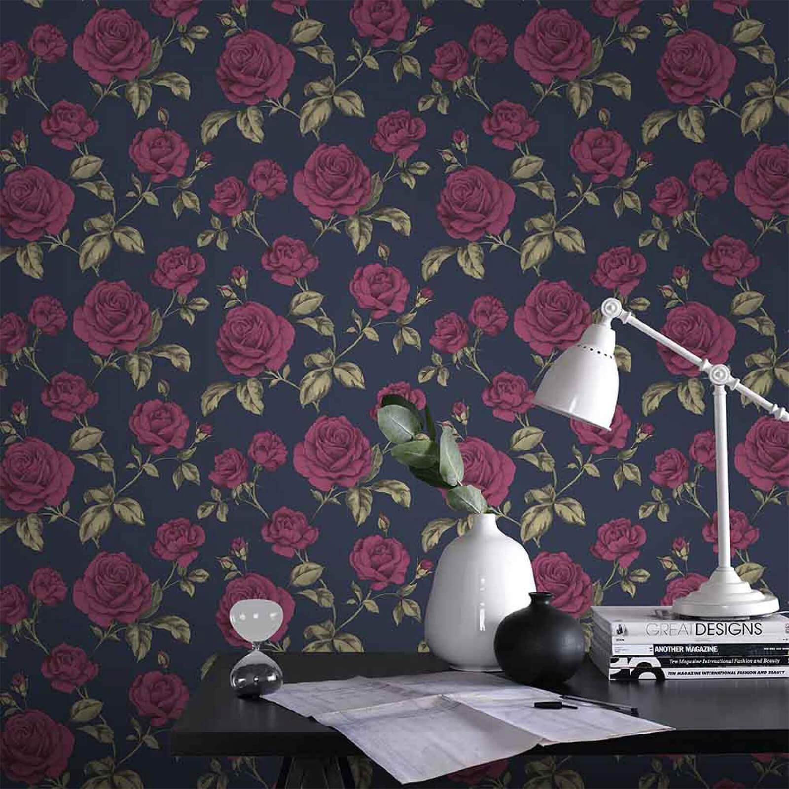 Boutique Navy Countess Floral Wallpaper