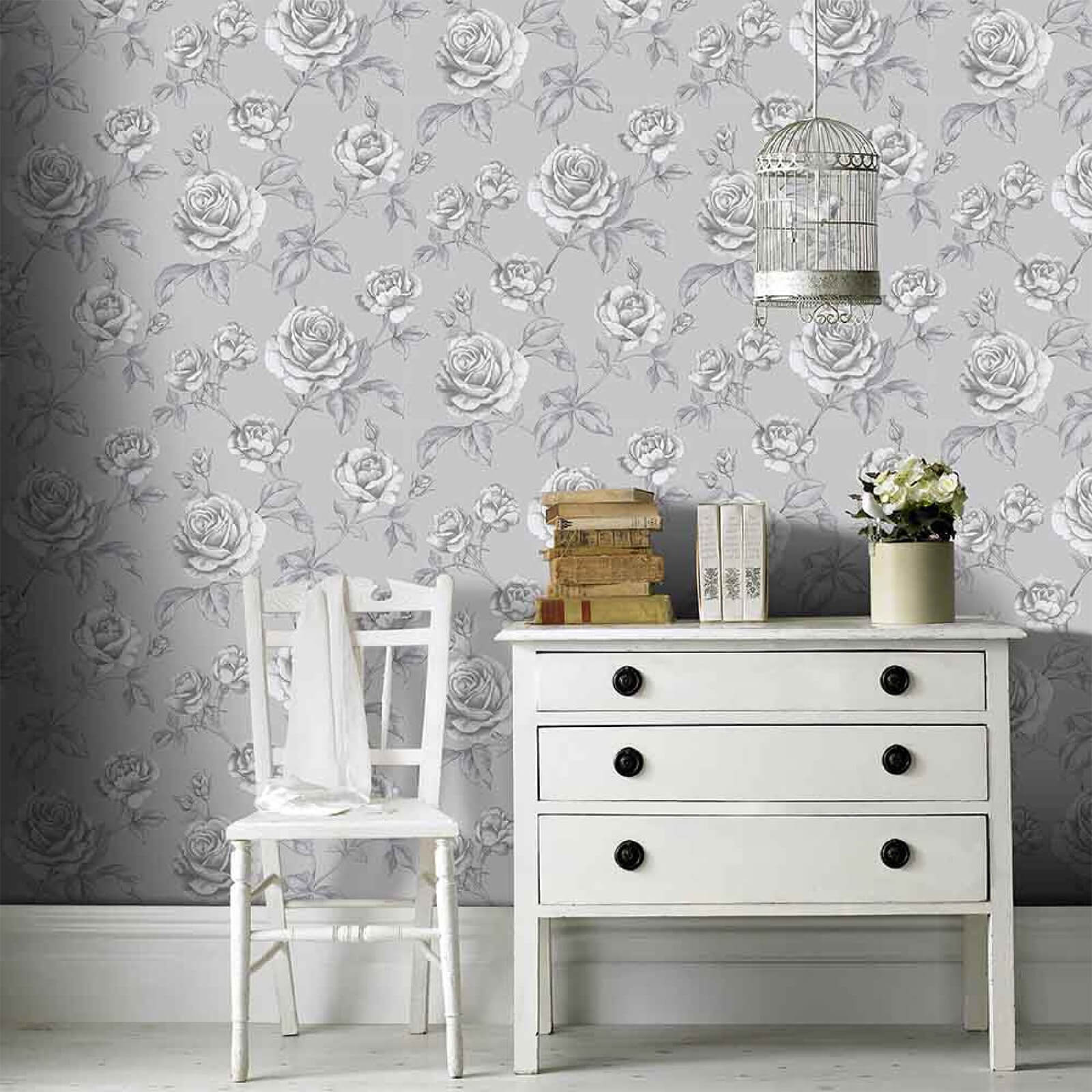 Boutique Sliver Countess Floral Wallpaper