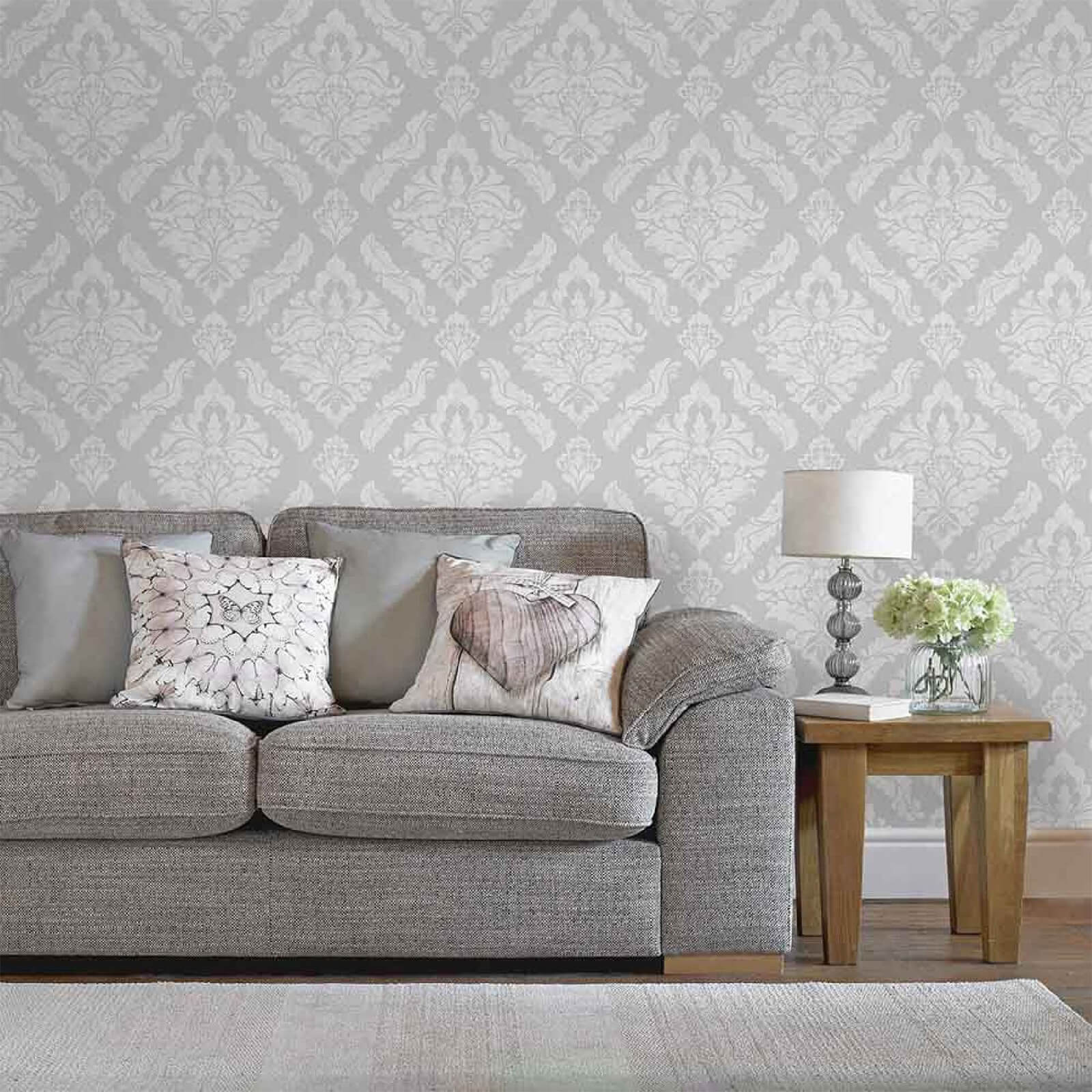 Boutique Silver Damaris Damask Wallpaper