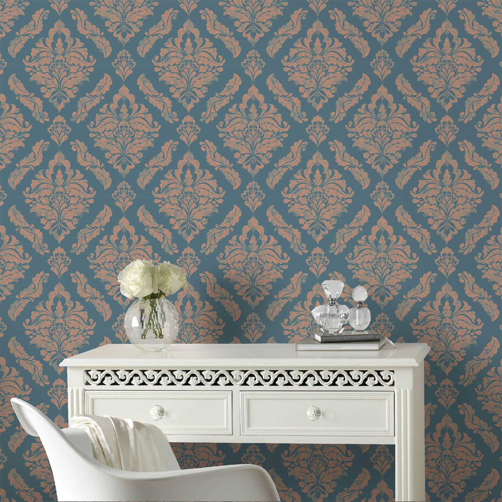 Boutique Turquoise Damaris Damask Wallpaper