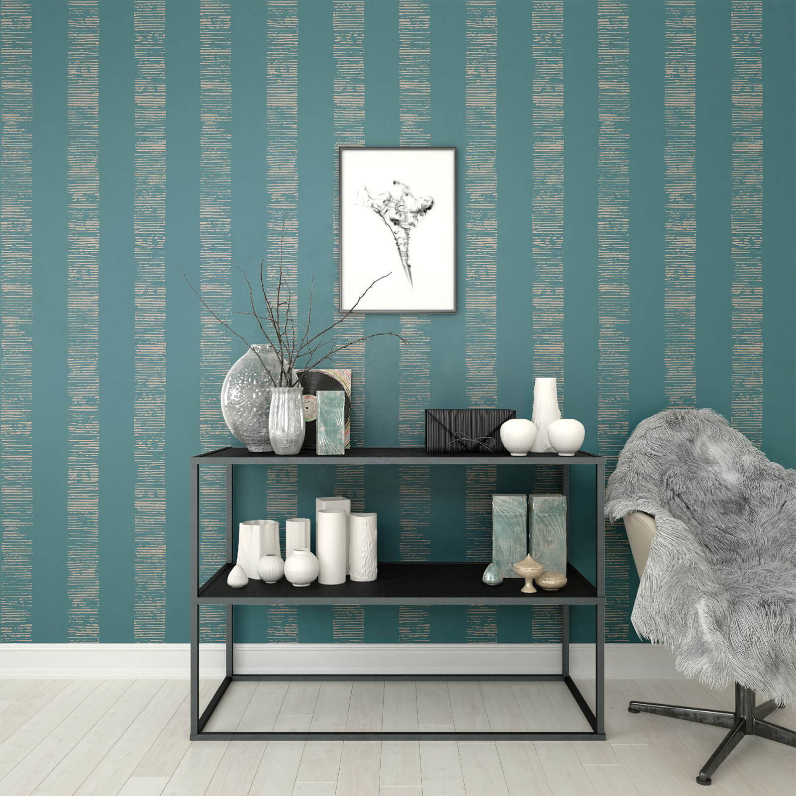 Boutique Turquoise Mara Stripe Wallpaper