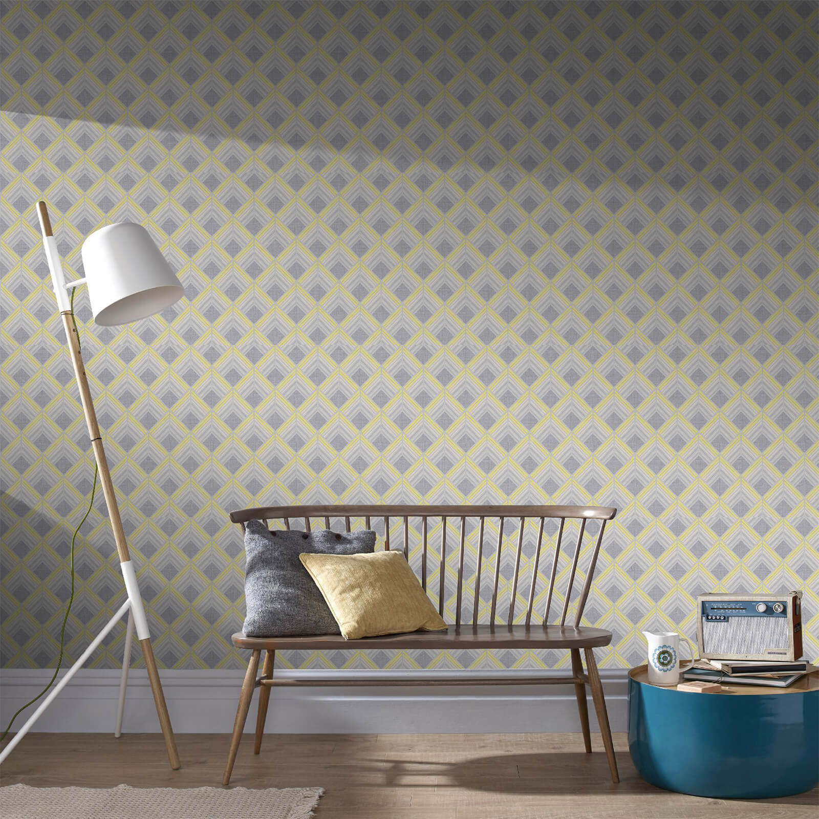 Boutique Yellow/Silver Trifina Geometric Wallpaper