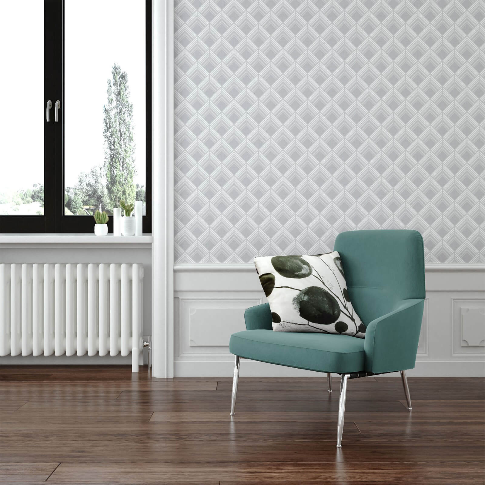 Boutique Silver Trifina Geometric Wallpaper