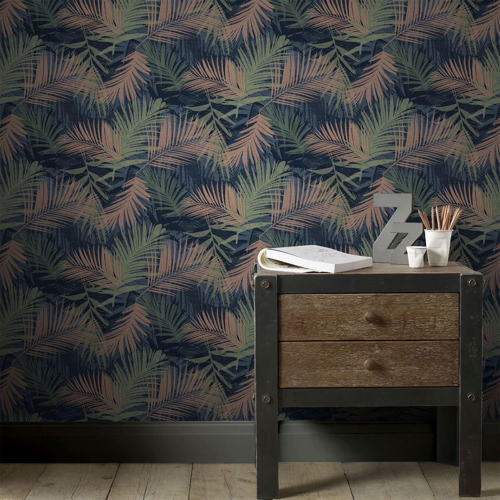 Boutique Blue/Green Jungle Glam Tropical Wallpaper