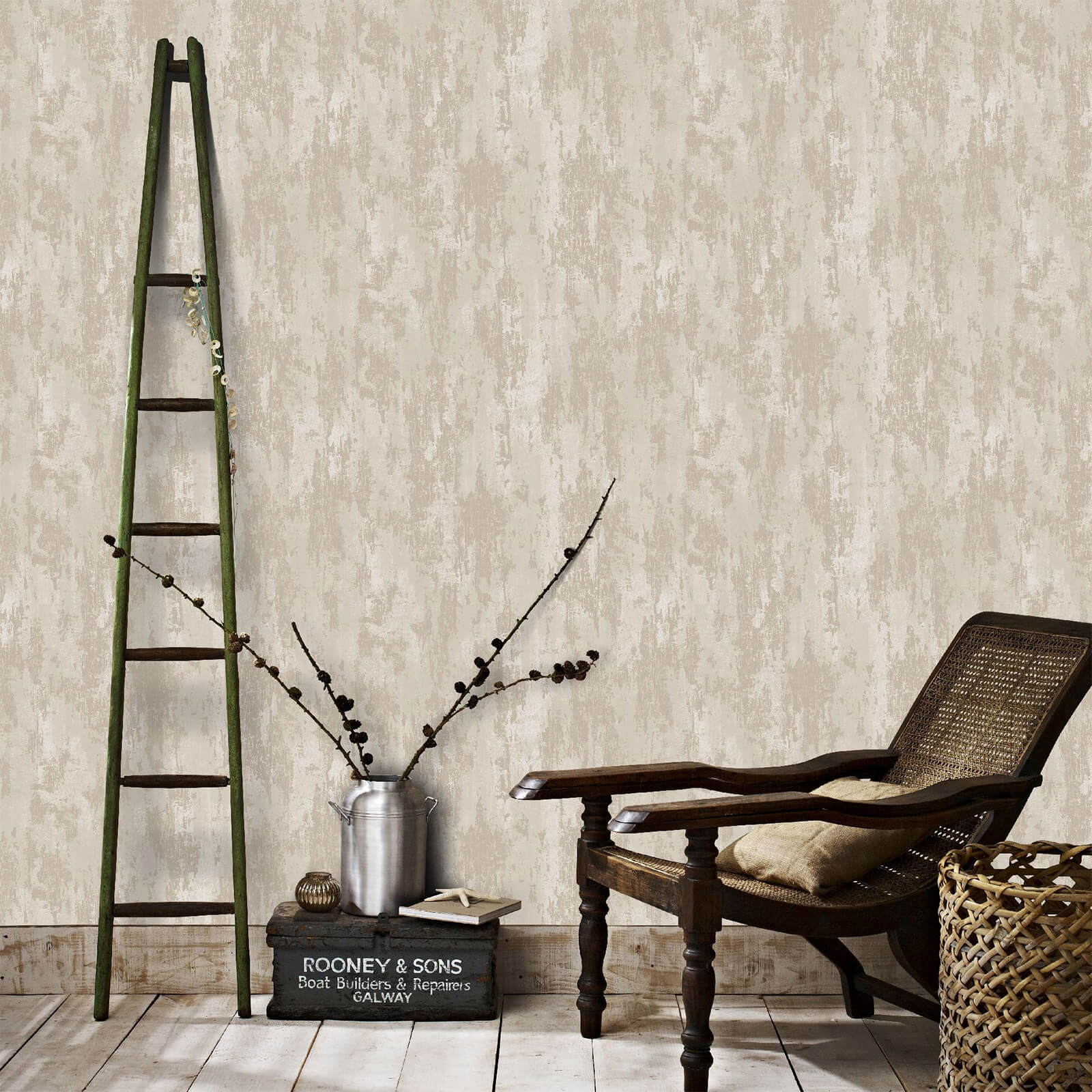 Boutique Beige/Gold Industrial Texture Wallpaper