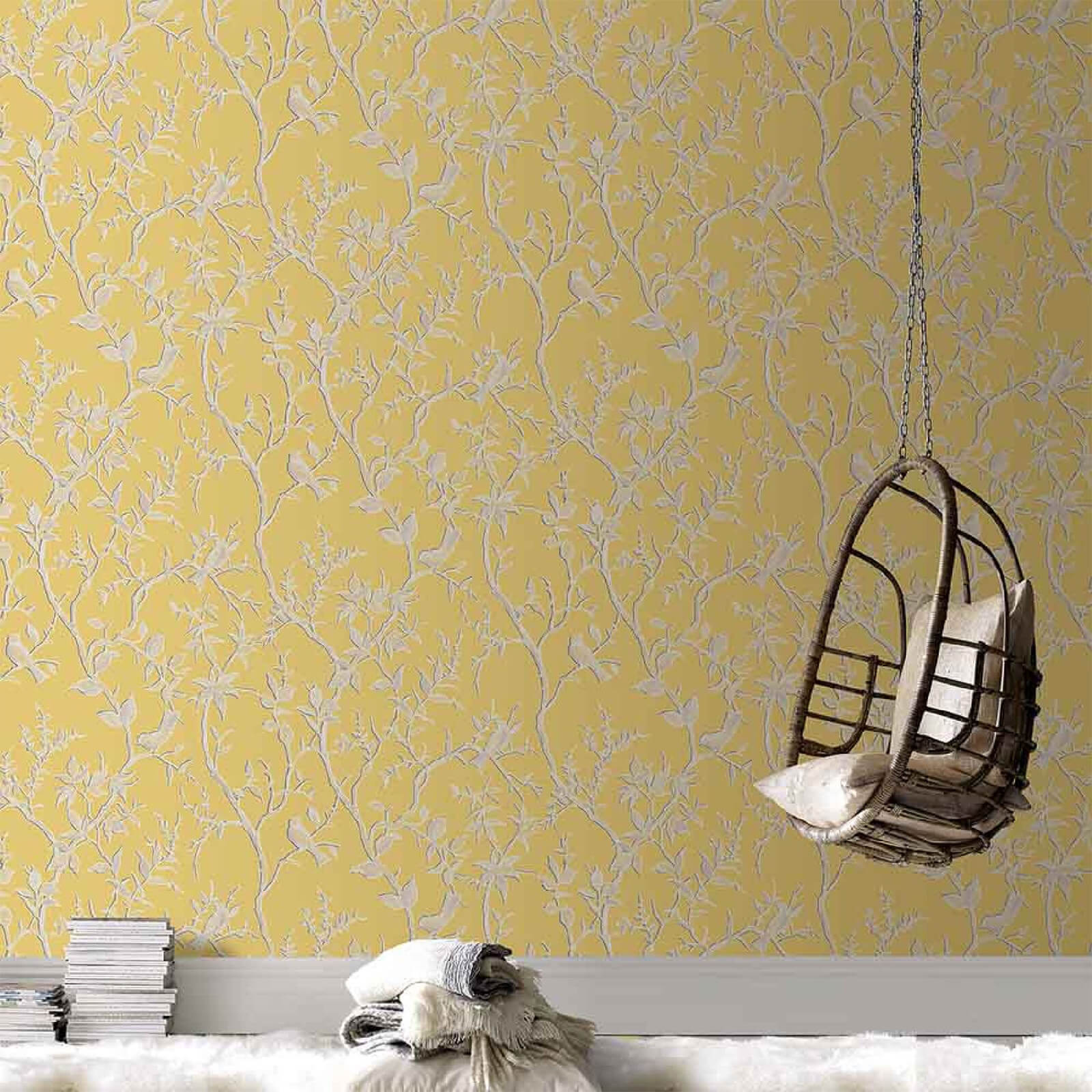Superfresco Yellow/Gold Laos Trail Floral Wallpaper