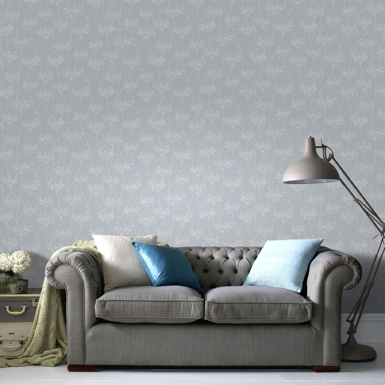 Superfresco Easy Pale Blue Aura Floral Wallpaper
