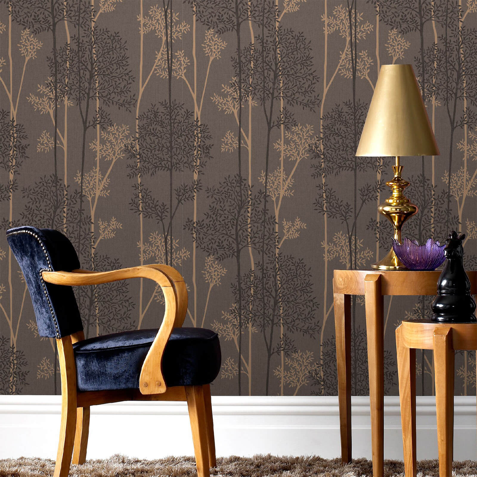 Superfresco Easy Chocolate/Bronze Eternal Floral Wallpaper