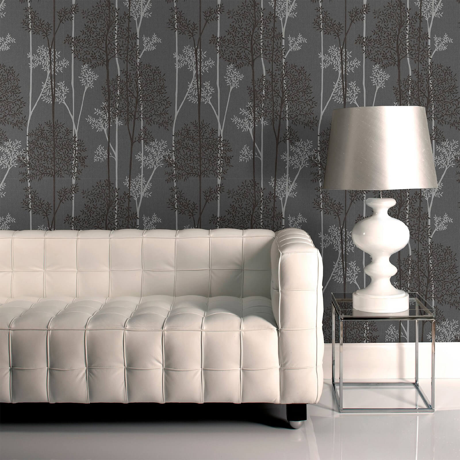 Superfresco Easy Charcoal/Silver Eternal Floral Wallpaper