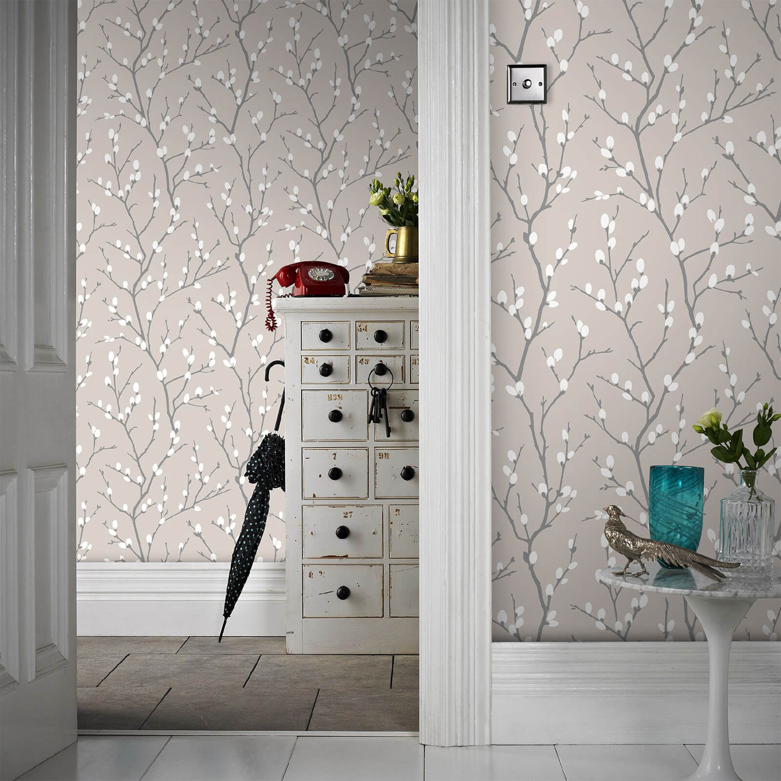 Superfresco Easy Taupe Karma Floral Wallpaper