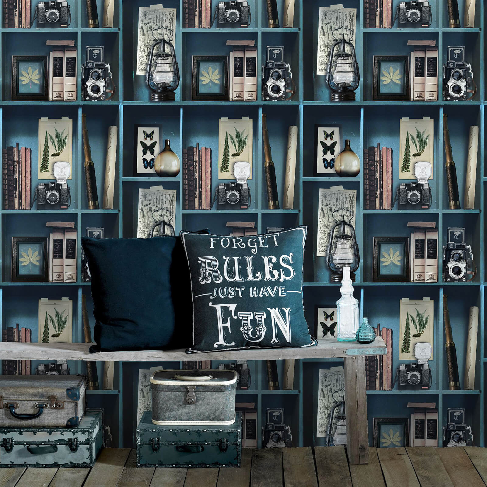 Superfresco Easy Blue Curiosite Biblio Bleu Wallpaper