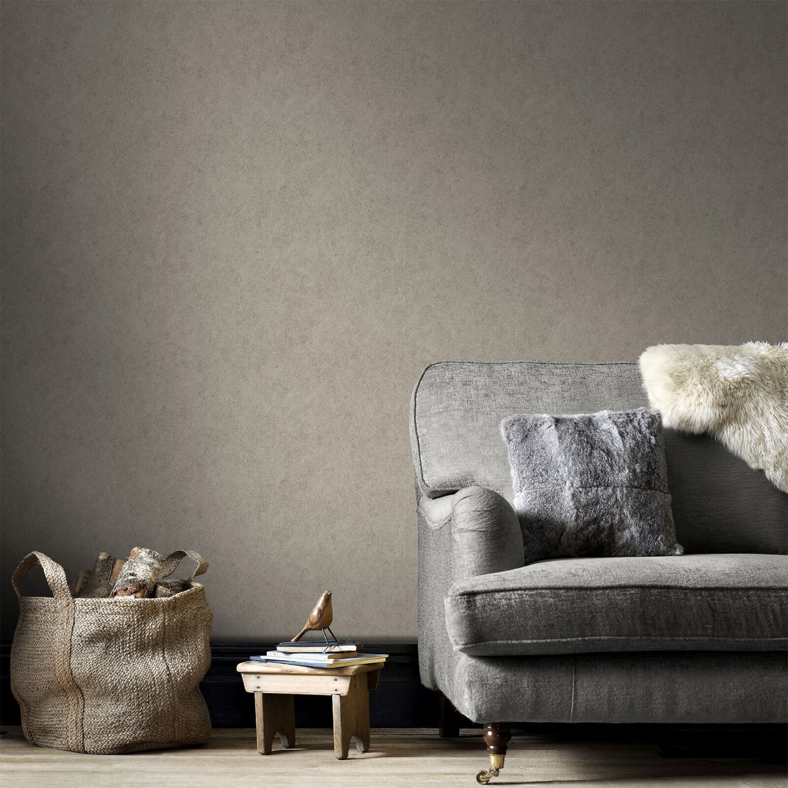 Boutique Taupe Samba Plain Wallpaper