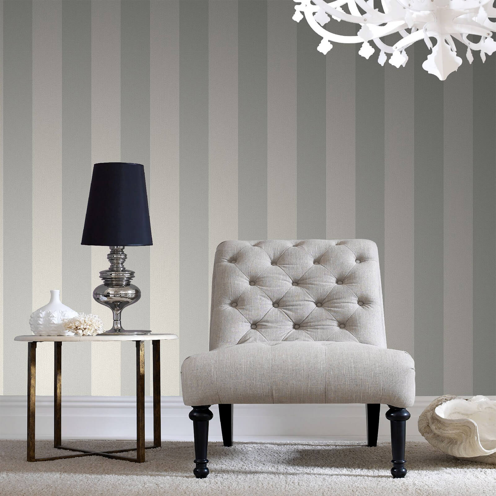 Boutique Silver Water Silk Stripe Wallpaper
