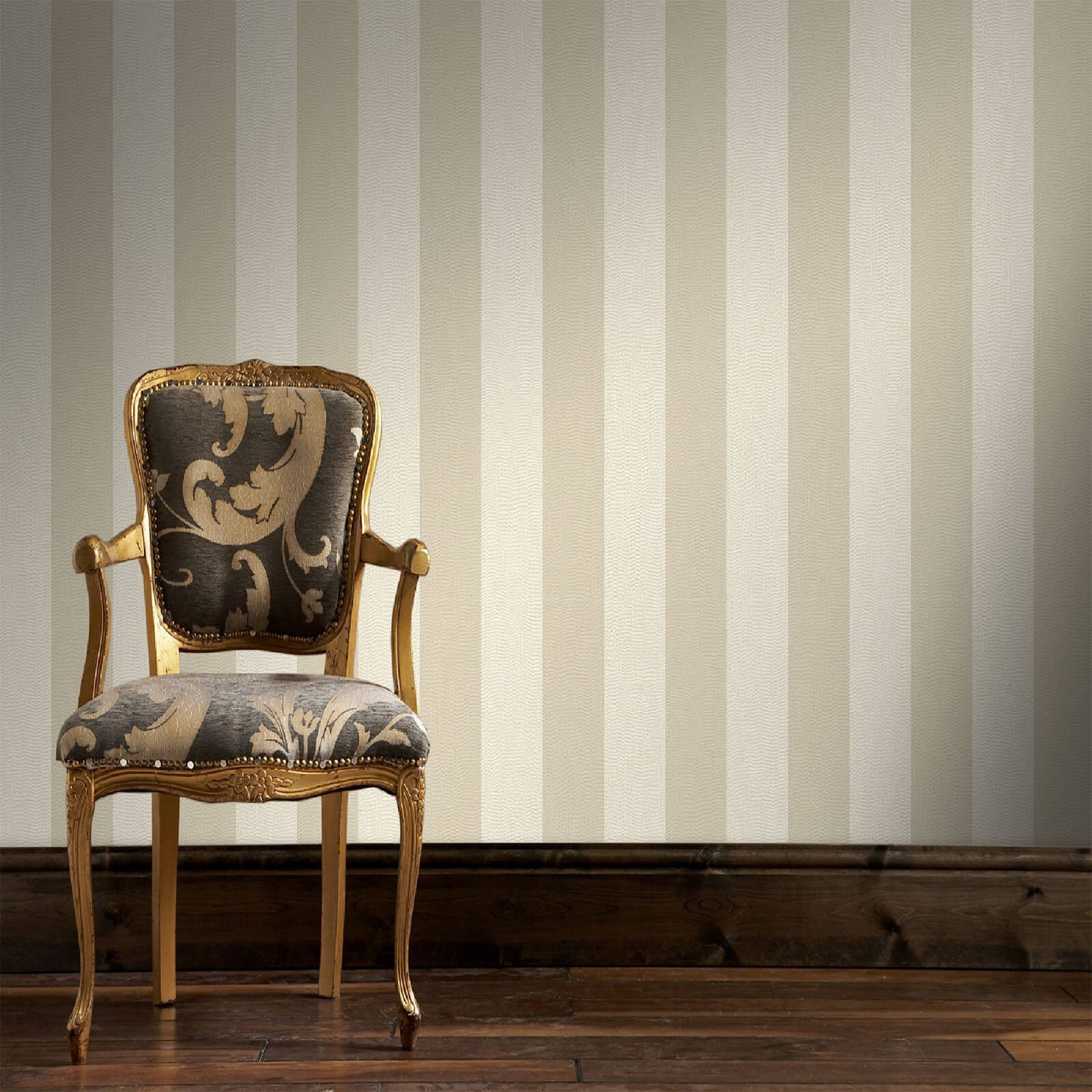 Boutique Ivory/Taupe Water Silk Stripe Wallpaper