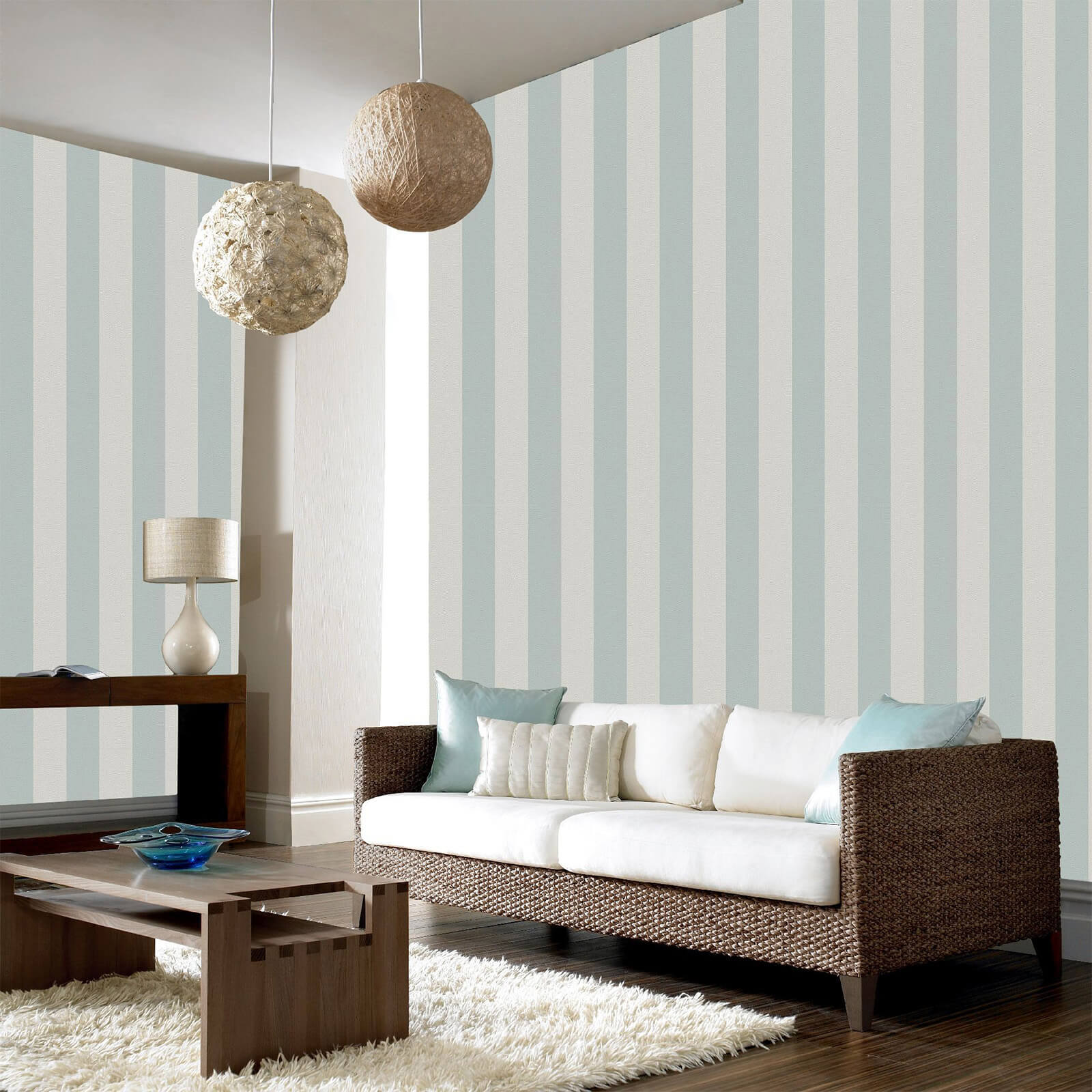 Boutique Teal/Silver Water Silk Stripe Wallpaper