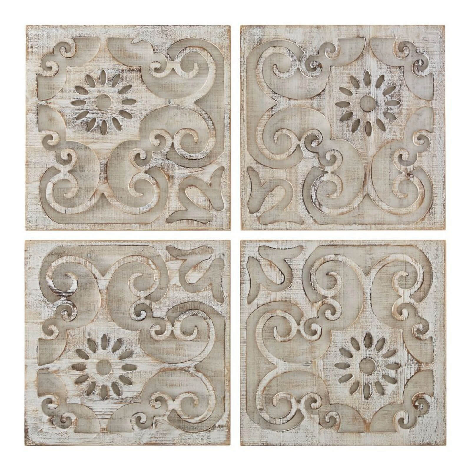 Art for the Home Moroccan Light Wood Panels (Set of 4)