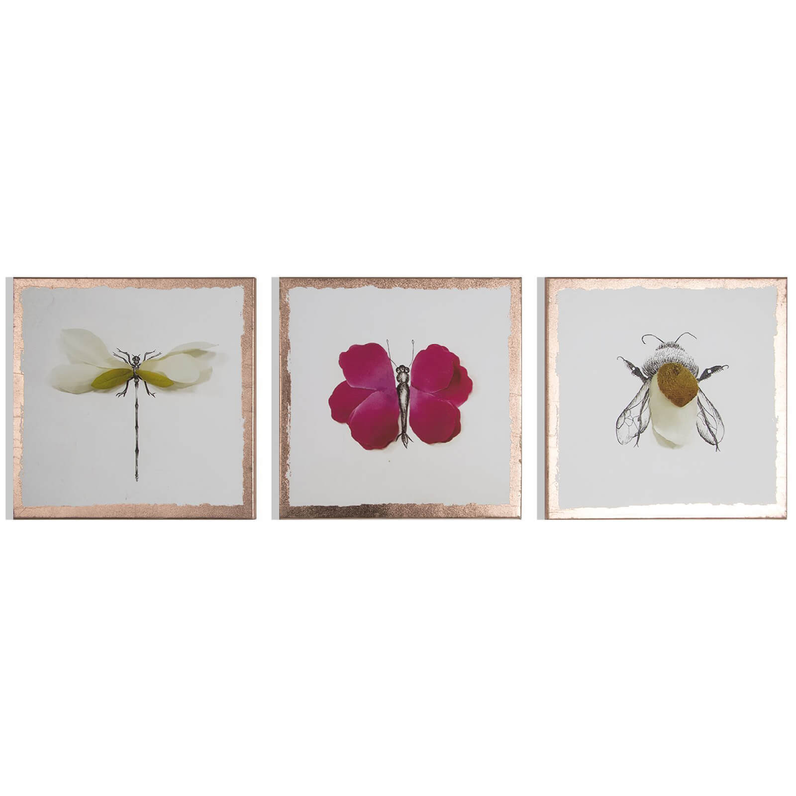 Art for the Home Metallic Beautiful Bugs Printed Canvas (Set of 3)