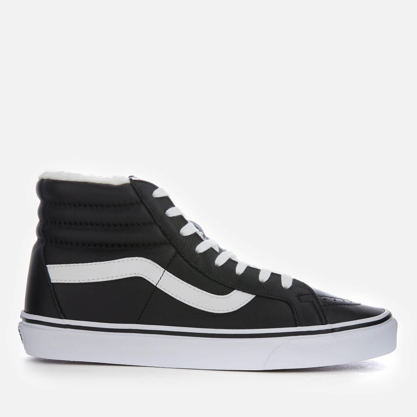 f8cf7125e5 Vans Men s Sk8-Hi Reissue Leather Fleece Trainers - Black True White  Clothing