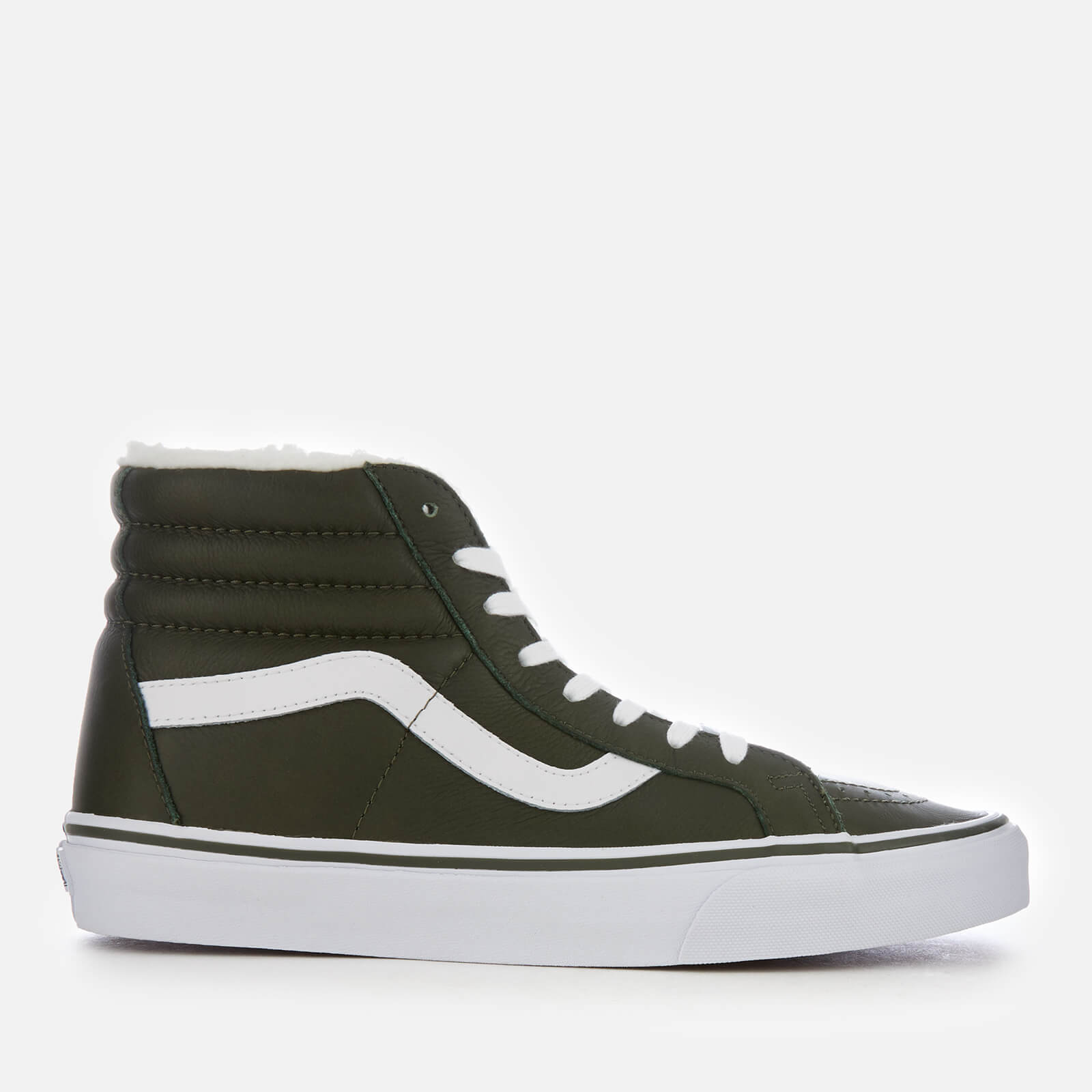 06366381185f74 Vans Men s Sk8-Hi Reissue Leather Fleece Trainers - Olive Night True White  Clothing