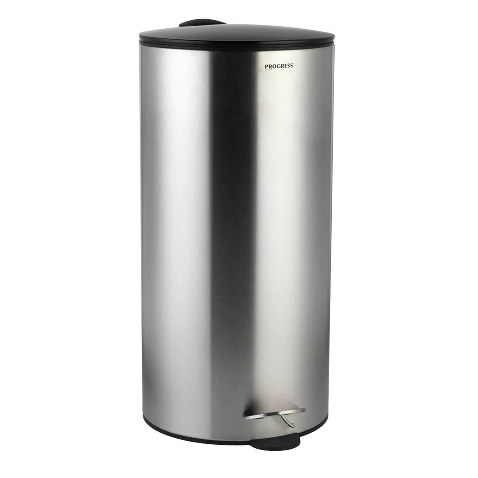 Progress Round Stainless Steel 30L Pedal Bin - Black