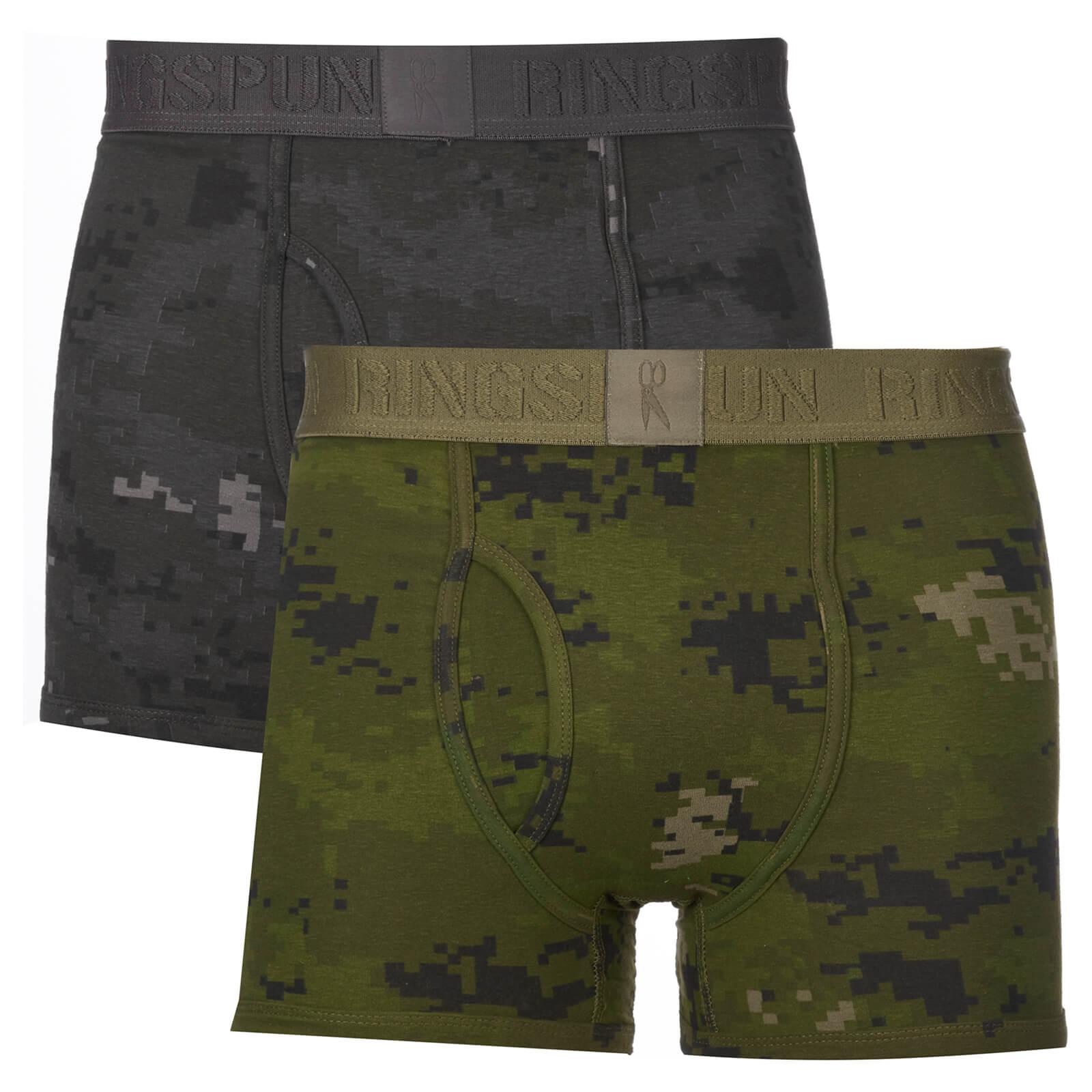 21ef7662059 Ringspun Men's 2 Pack Camo Boxers - Black/Olive Mens Underwear | Zavvi