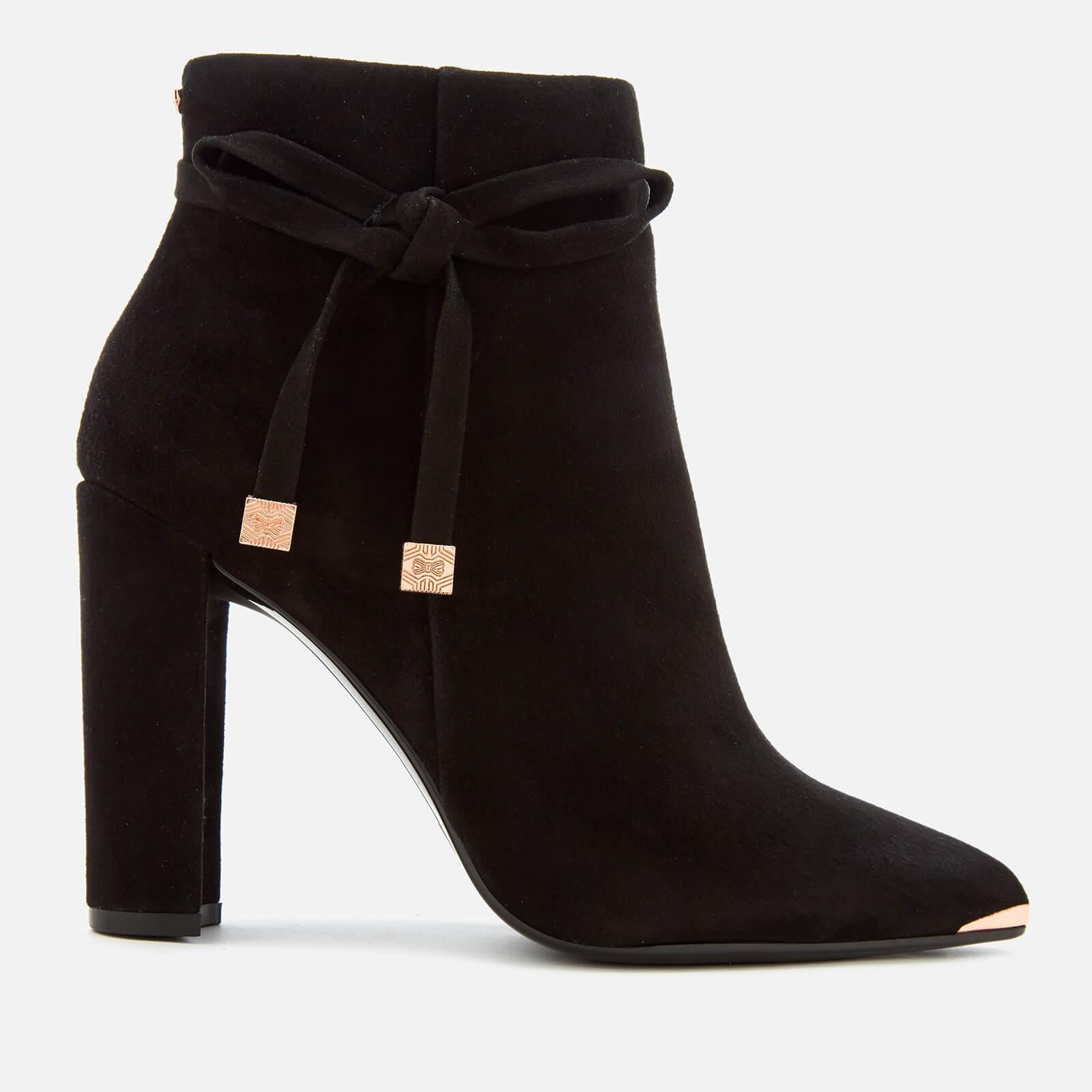 2ec9550c3e24 Ted Baker Women s Qatena Suede Heeled Ankle Boots - Black Womens Footwear