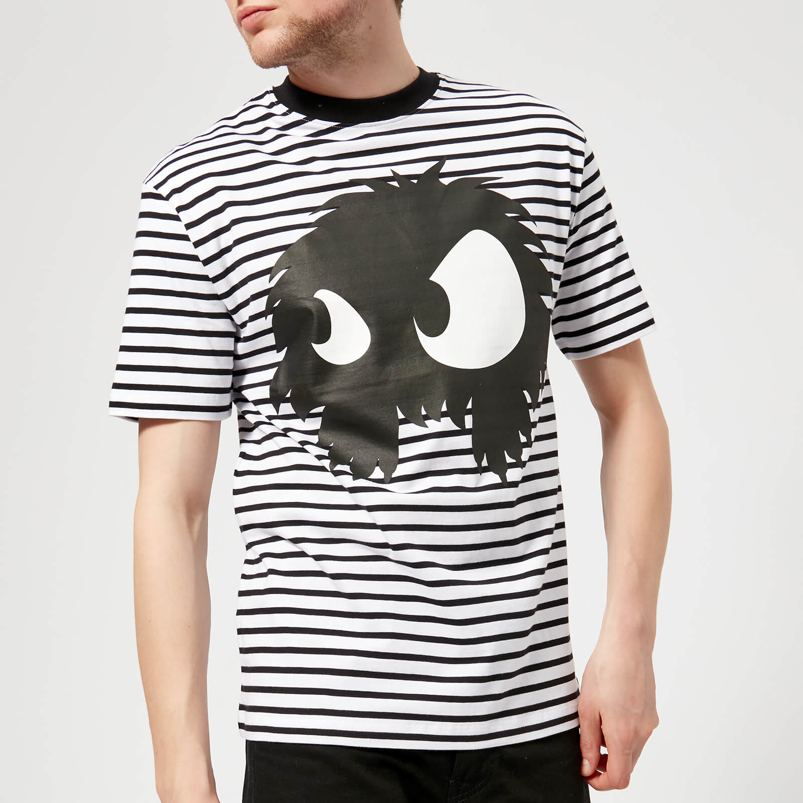 0a39117e McQ Alexander McQueen Men's Dropped Shoulder Mad Chester T-Shirt - Black/ White Stripes - Free UK Delivery over £50