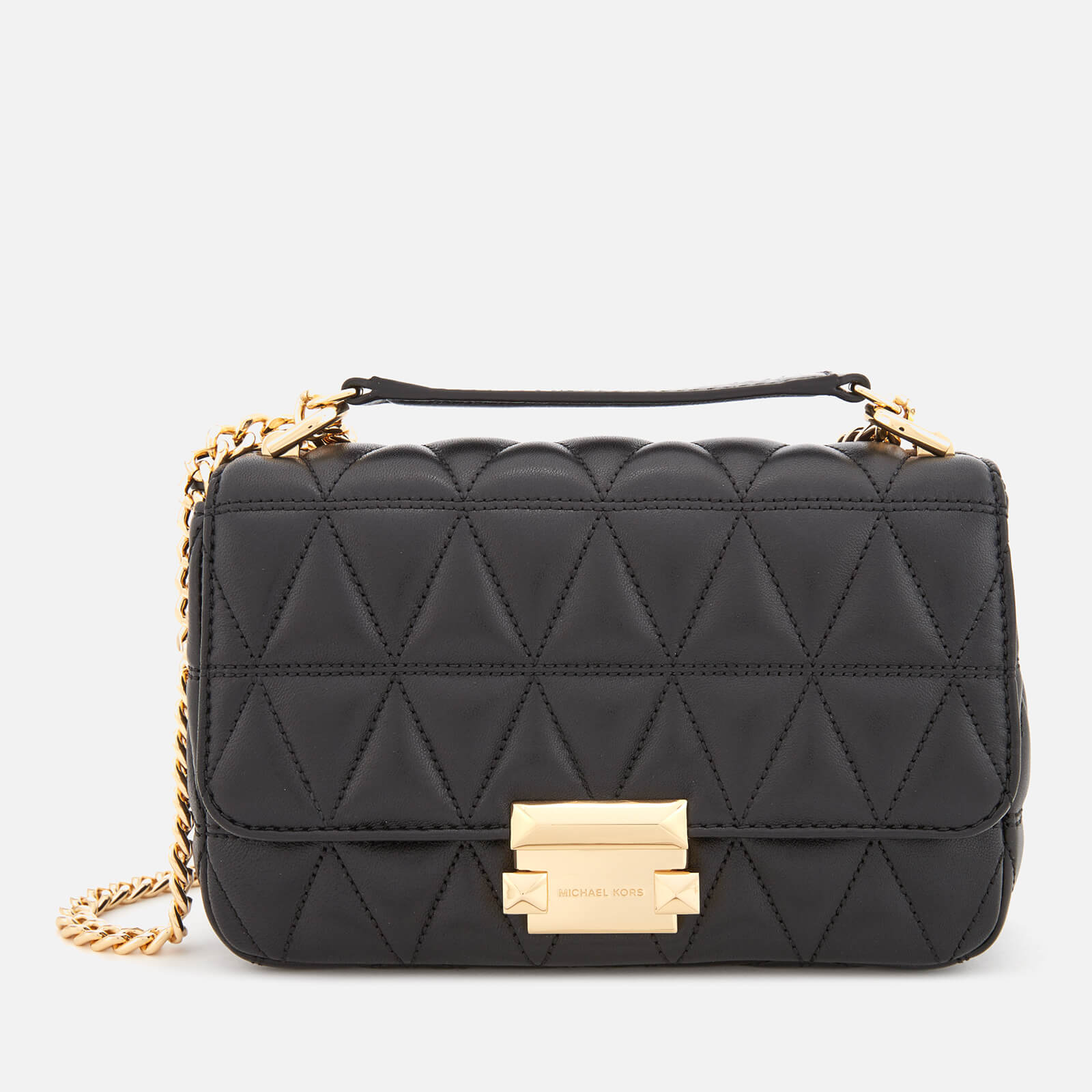693adb0d03 MICHAEL MICHAEL KORS Women s Pyramid Quilted Chain Shoulder Bag - Black -  Free UK Delivery over £50