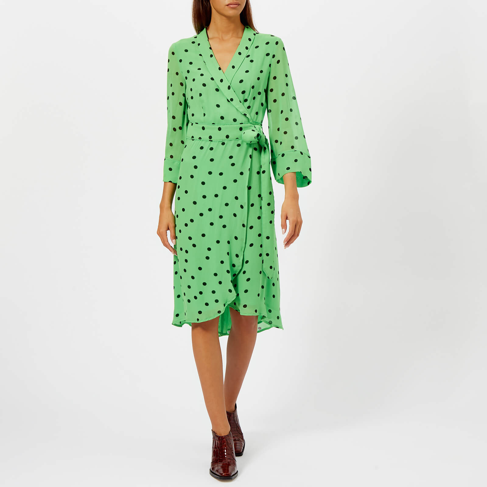 9c3922b4bdf0 Ganni Women's Dainty Georgette Dress - Classic Green - Free UK Delivery  over £50