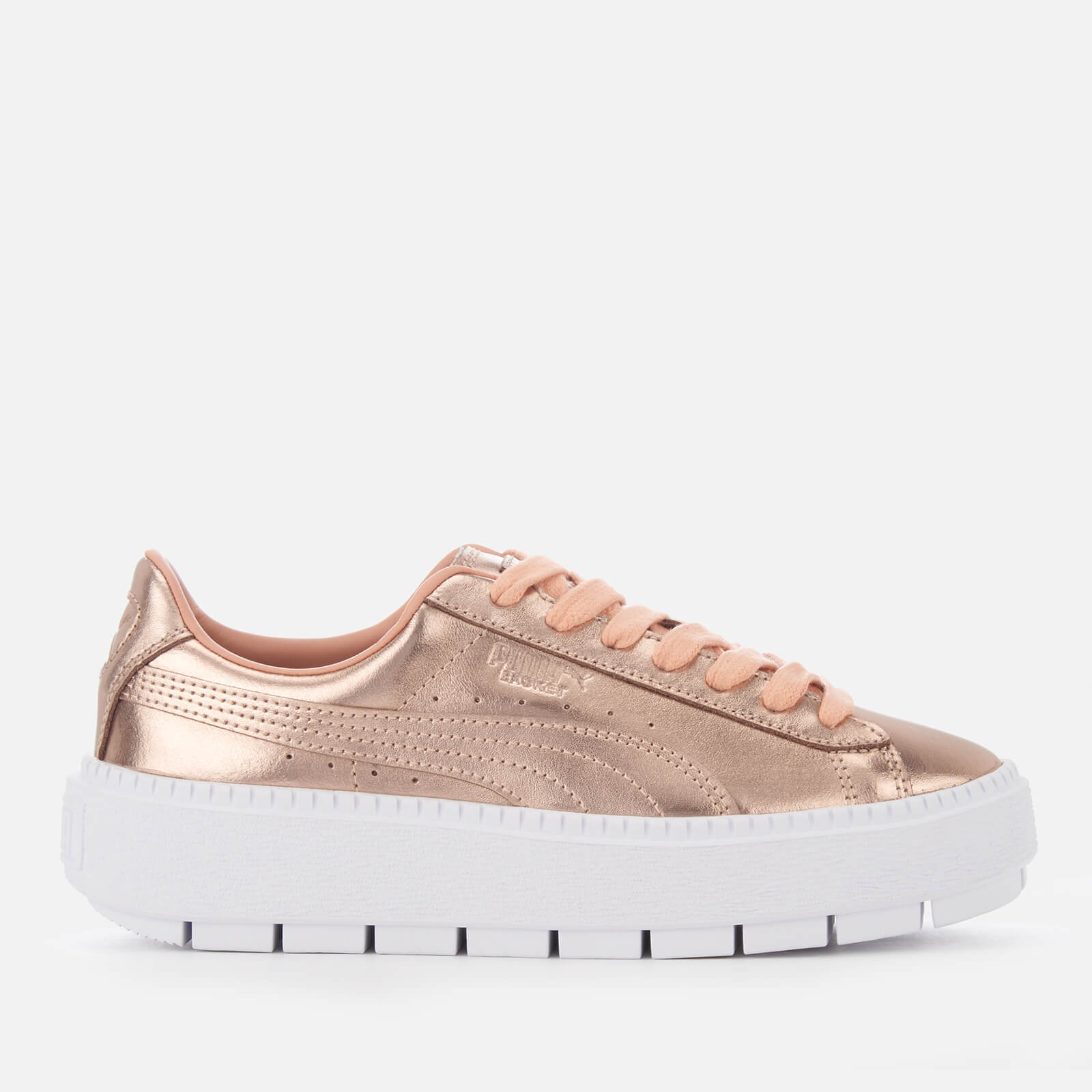 Puma Women's Trace Basket Platform Trainers - Dusty Coral/Puma White - UK 8 - Gold