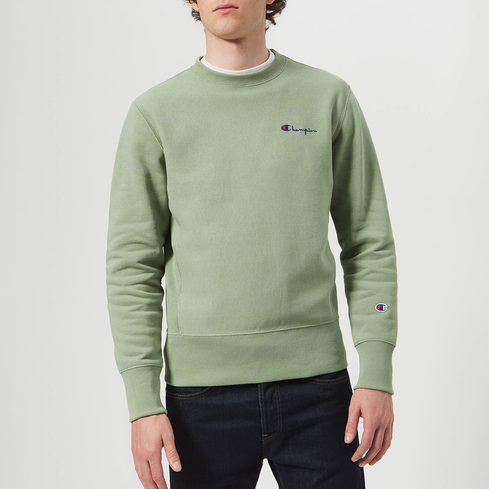 f15e33de9 Champion Men's Crew Neck Sweatshirt - Green - Free UK Delivery over £50