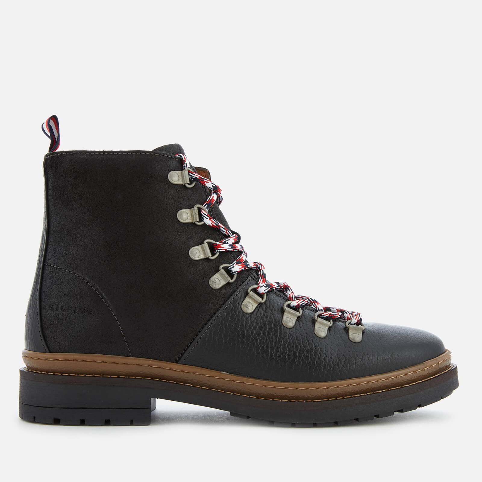 ab435ea5d Tommy Hilfiger Men s Elevated Outdoor Leather Hiking Boots - Black Mens  Footwear