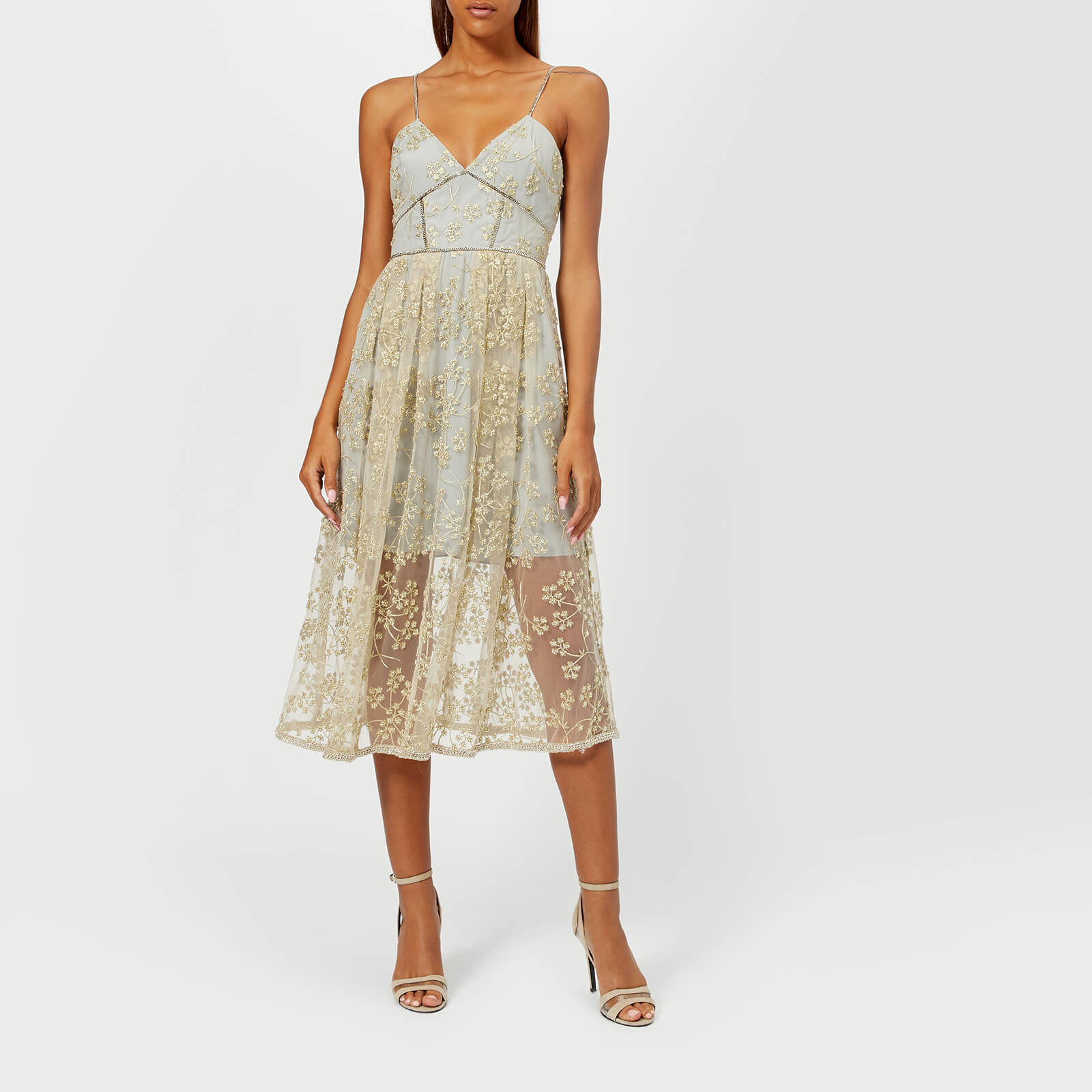 aaaad6d88527b Self-Portrait Women's Floral Embroidered Mesh Midi Dress - Gold-Grey
