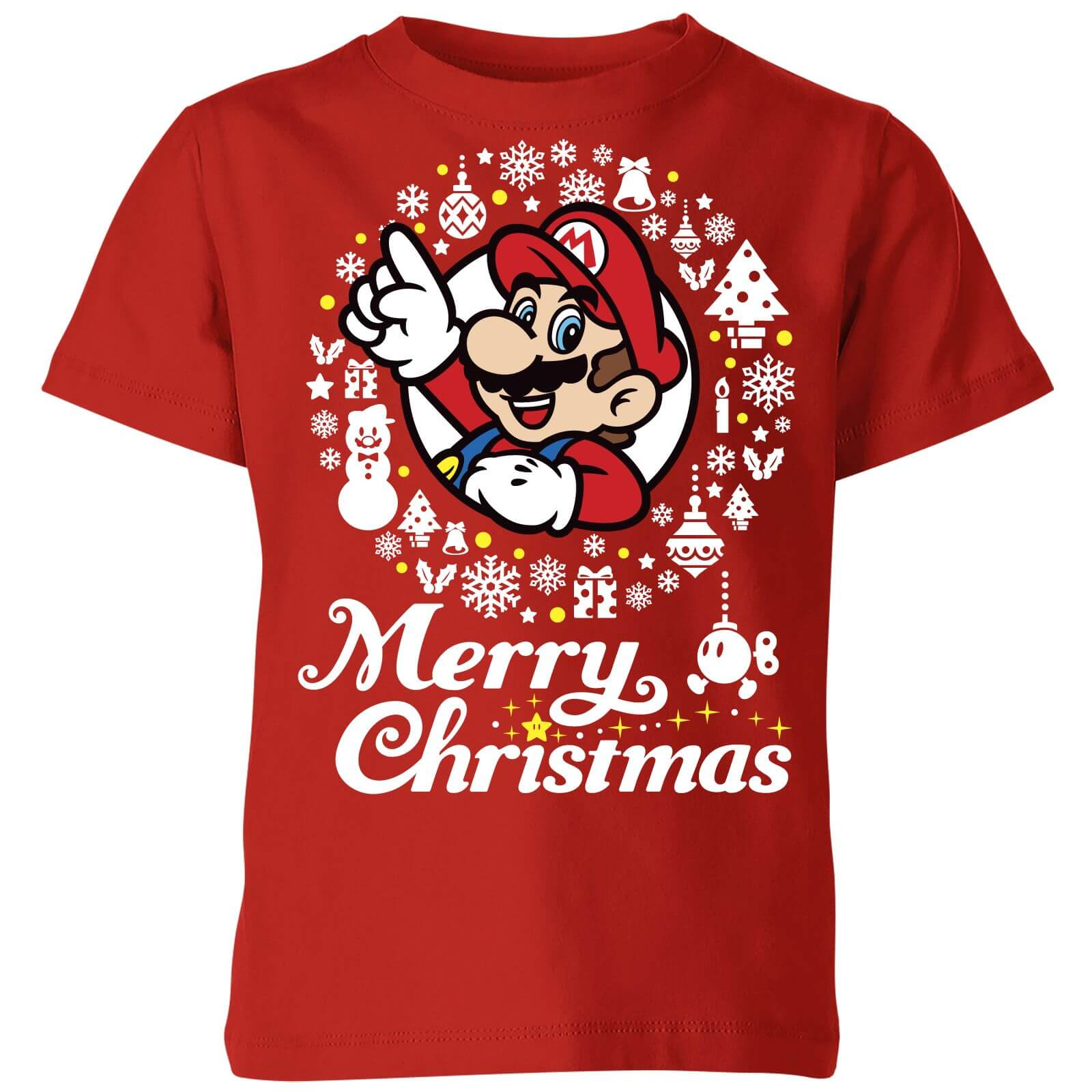 Nintendo Super Mario Merry Christmas White Wreath Kids