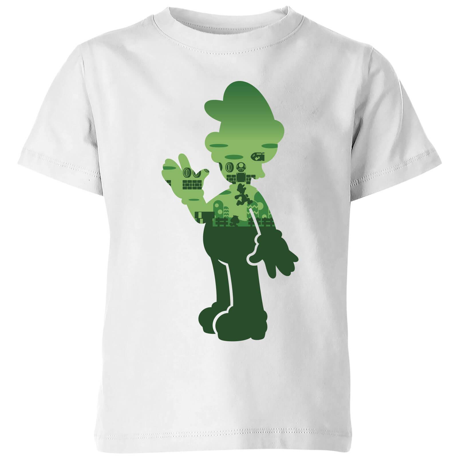339a35b1f Nintendo Super Mario Luigi Silhouette Kid's T-Shirt - White   IWOOT