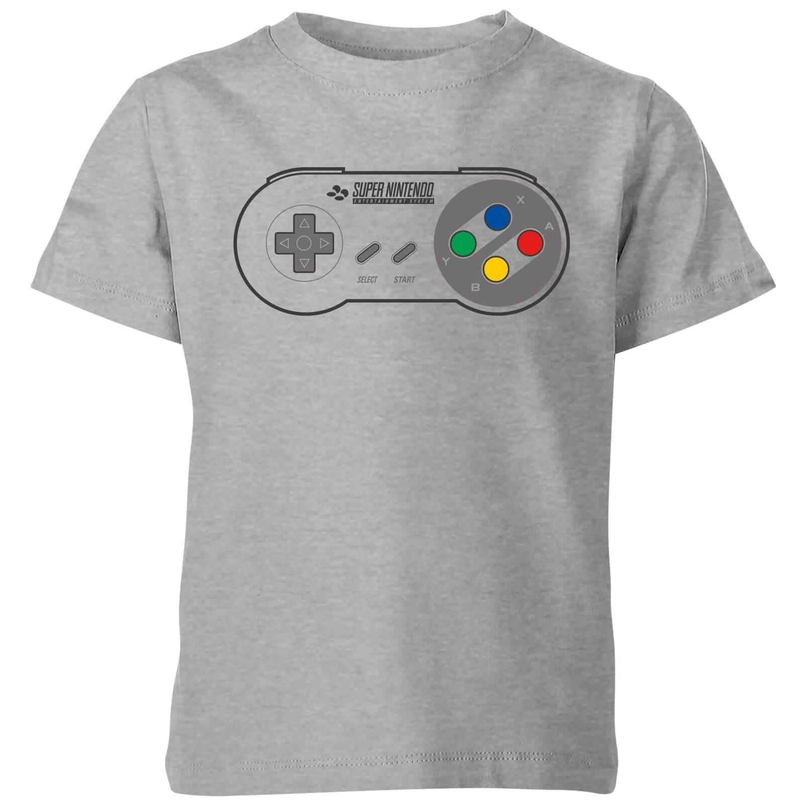 0116a34d Nintendo SNES Controller Pad Kid's T-Shirt - Grey Clothing | Zavvi