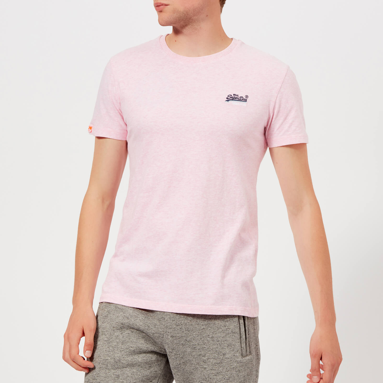 f1062397 Superdry Men's Orange Label Vintage Emb T-Shirt - Pastel Pink Marl Clothing  | TheHut.com