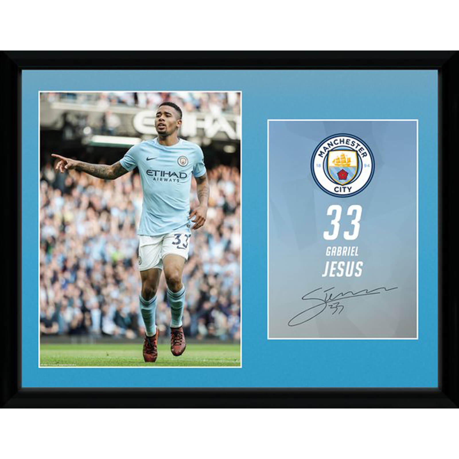 Manchester City Jesus 17/18 12 x 16 Inches Framed Photograph