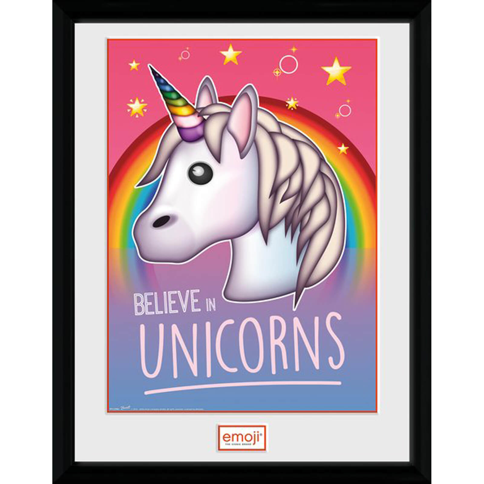 Emoji Believe in Unicorns 12 x 16 Inches Framed Photograph