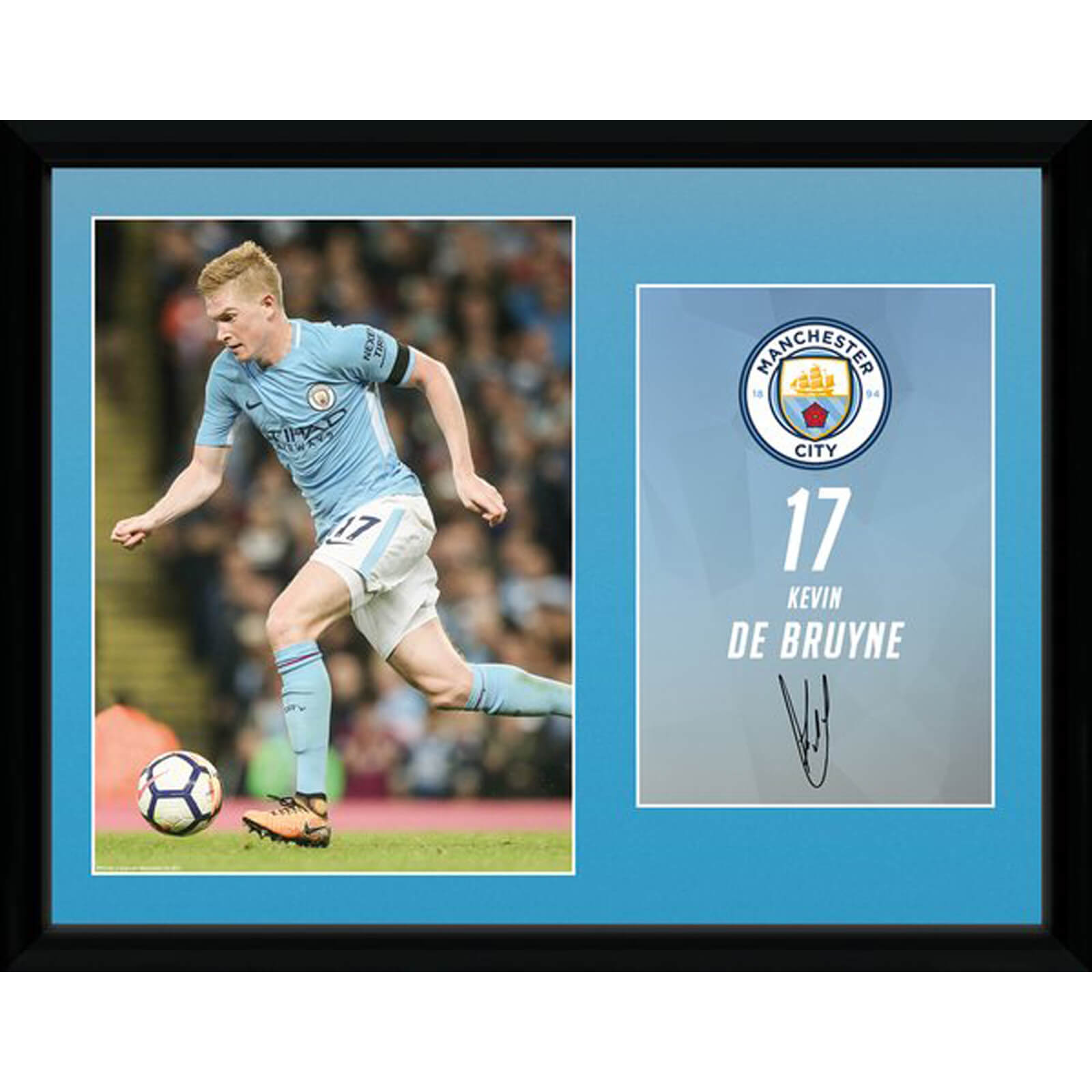 Manchester City De Bruyne 17/18 12 x 16 Inches Framed Photograph