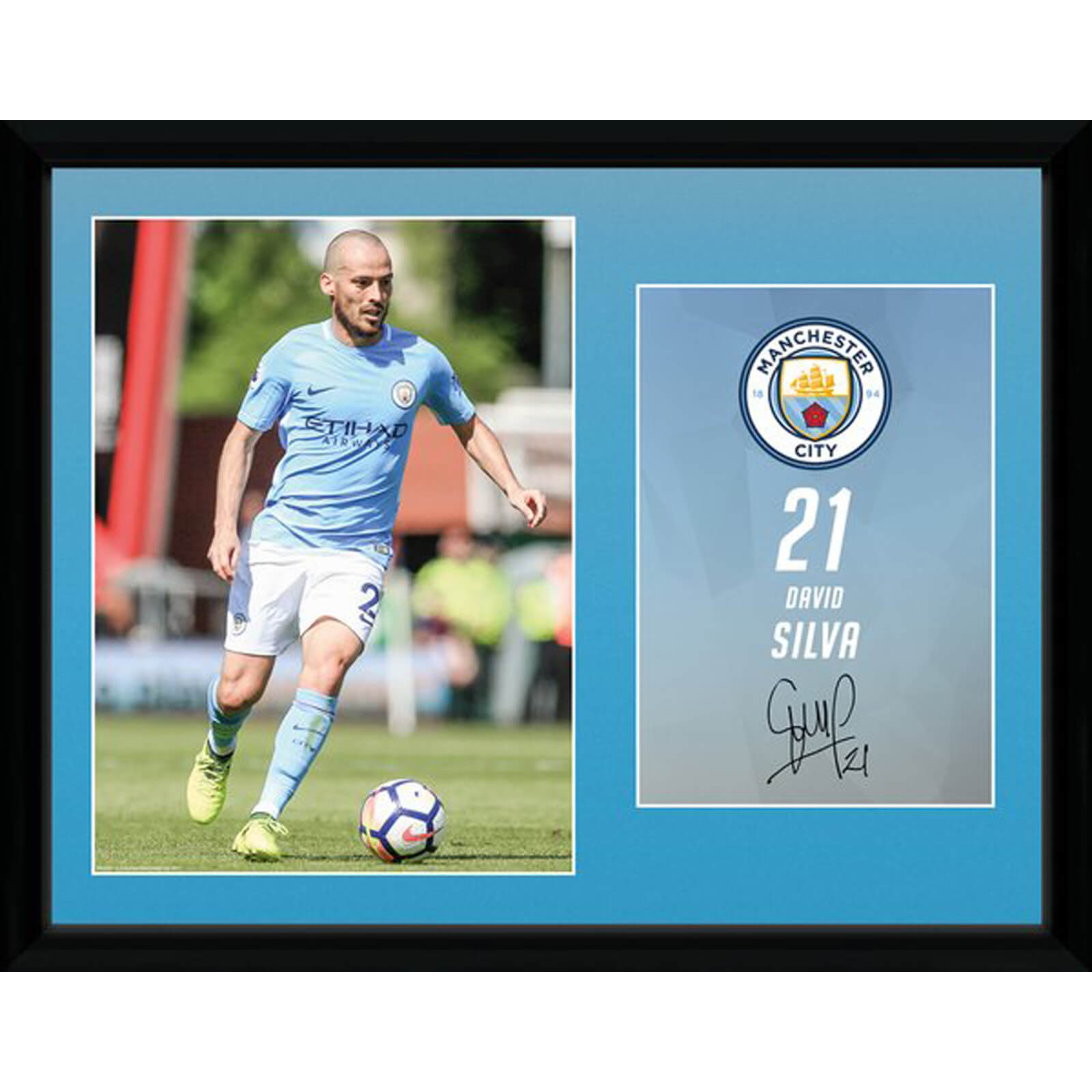 Manchester City Silva 17/18 12 x 16 Inches Framed Photograph
