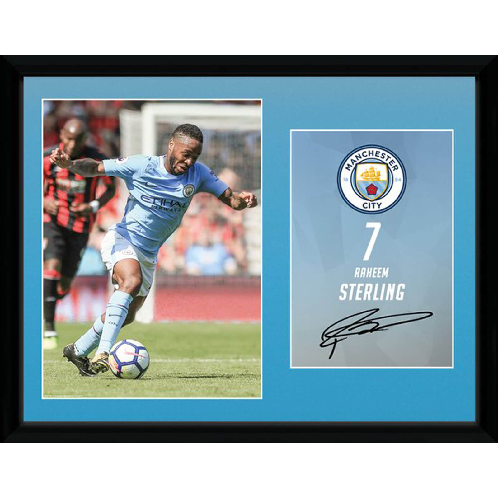 Manchester City Sterling 17/18 12 x 16 Inches Framed Photograph