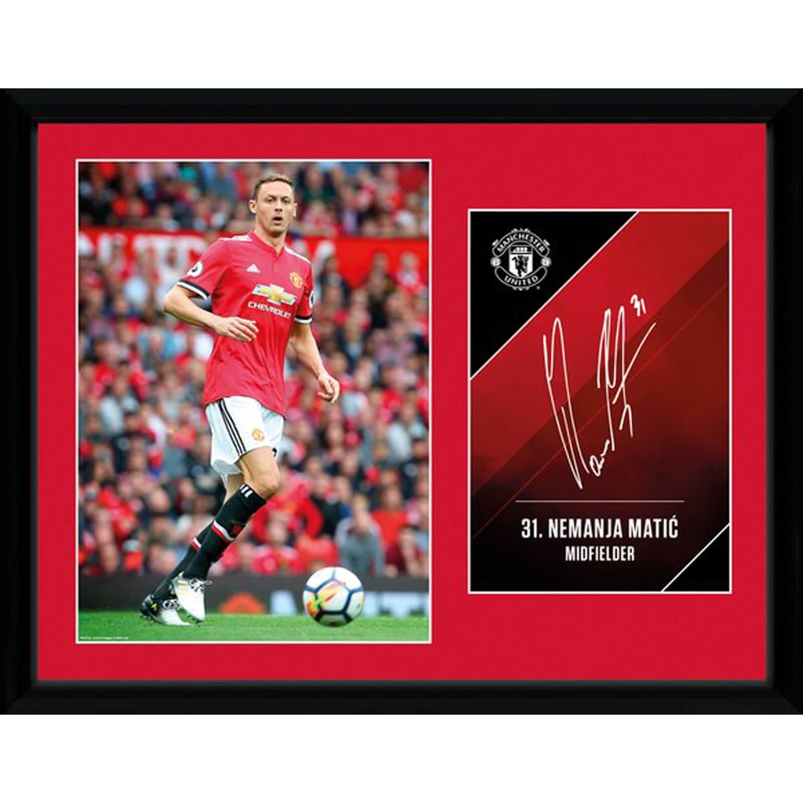 Manchester United Matic 17/18 12 x 16 Inches Framed Photograph