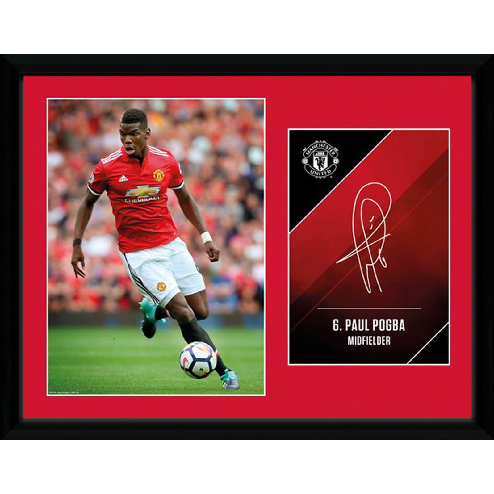Manchester United Pogba 17/18 12 x 16 Inches Framed Photograph